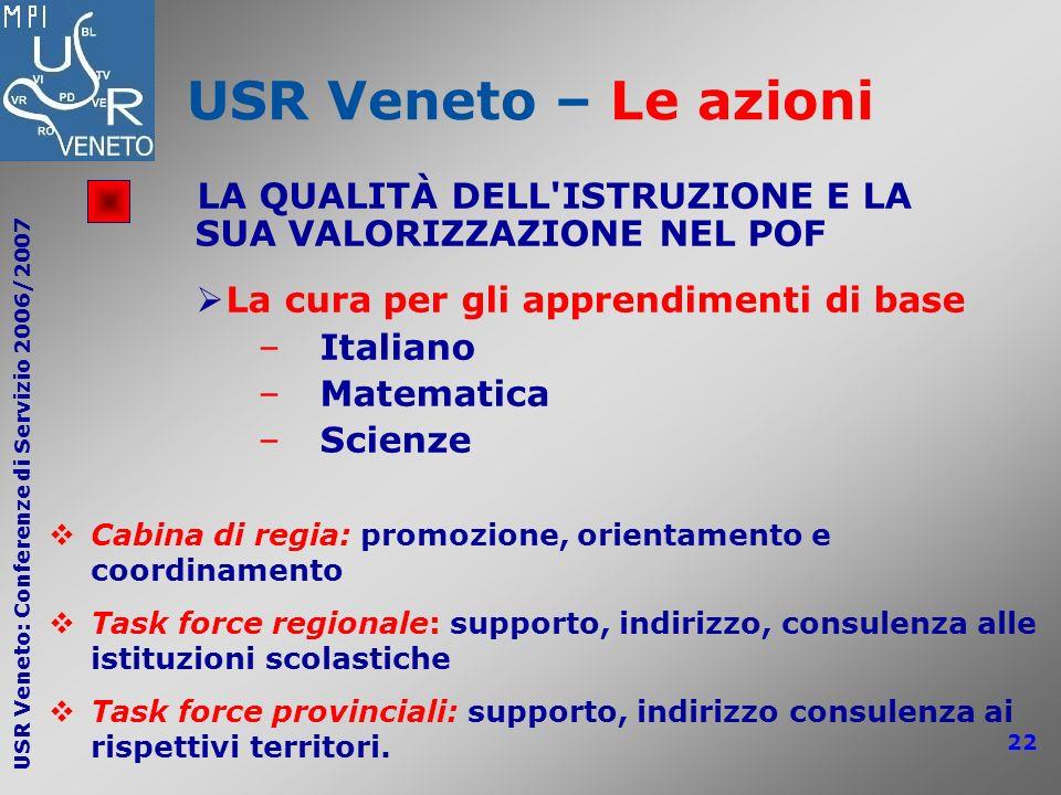 USR Veneto: Conferenze di Servizio 2006/2007 22 USR Veneto – Le azioni LA QUALITÀ DELL'ISTRUZIONE E LA SUA VALORIZZAZIONE NEL POF La cura per gli appr