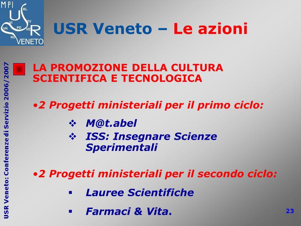 USR Veneto: Conferenze di Servizio 2006/2007 23 USR Veneto – Le azioni LA PROMOZIONE DELLA CULTURA SCIENTIFICA E TECNOLOGICA 2 Progetti ministeriali p