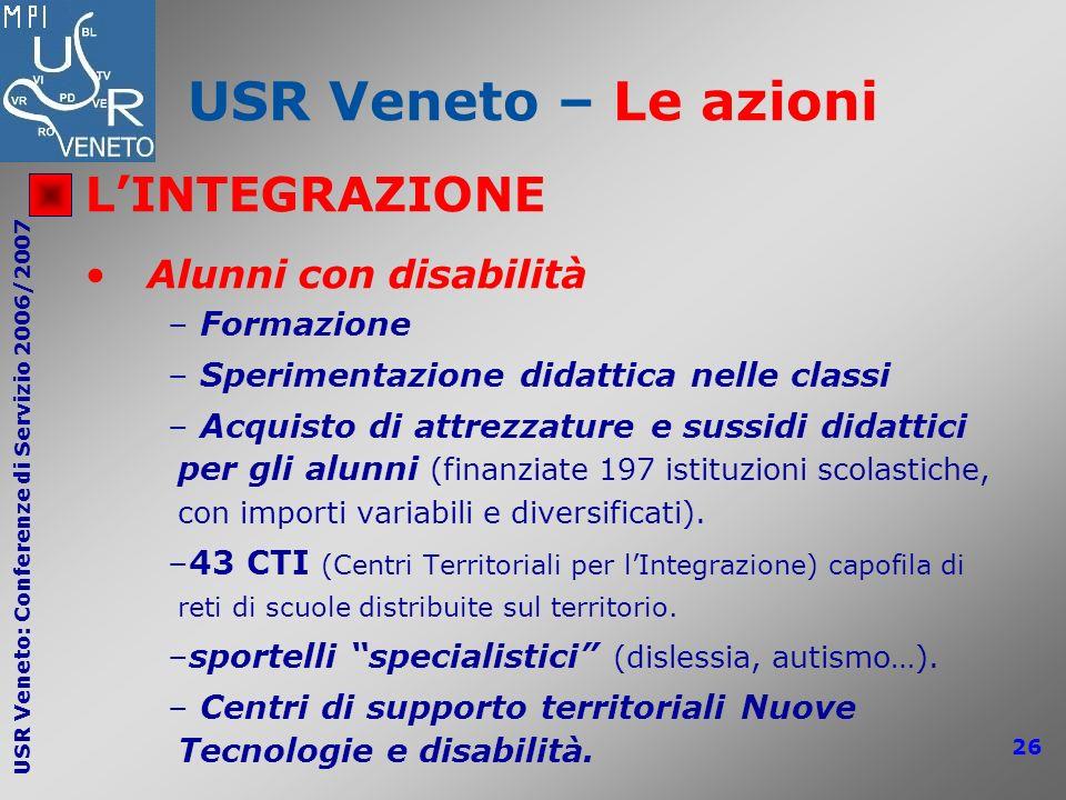 USR Veneto: Conferenze di Servizio 2006/2007 26 USR Veneto – Le azioni LINTEGRAZIONE Alunni con disabilità – Formazione – Sperimentazione didattica ne