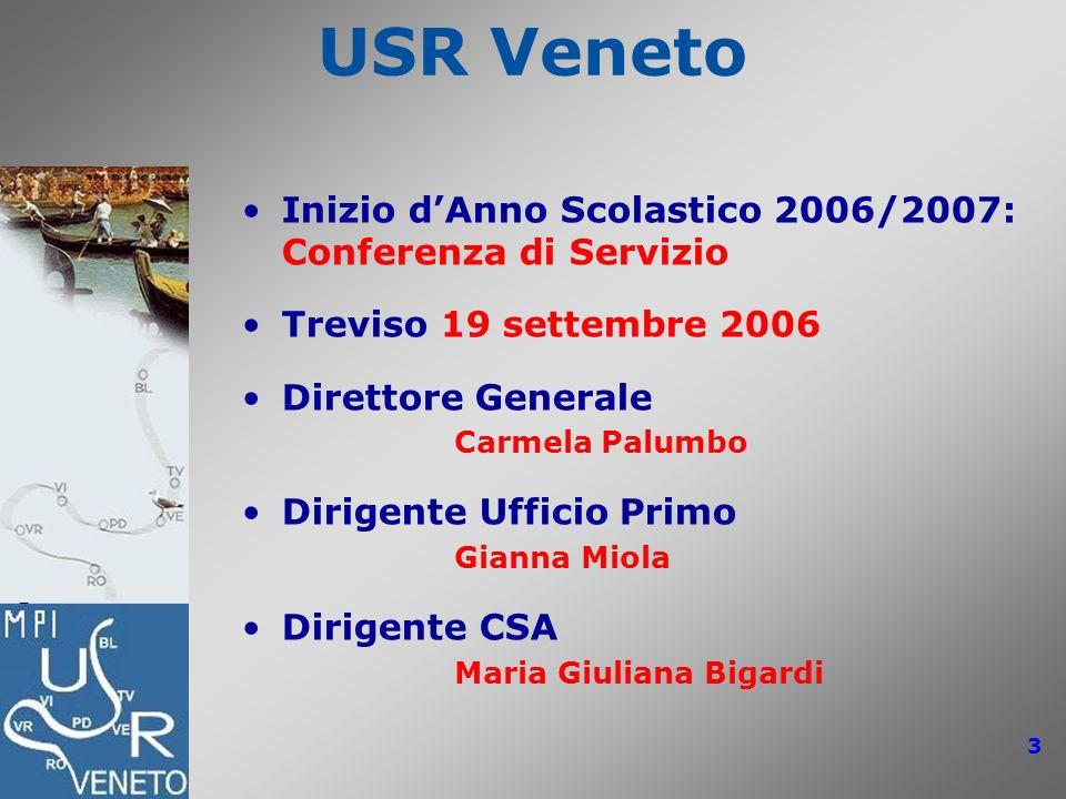 USR Veneto: Conferenze di Servizio 2006/2007 3 USR Veneto Inizio dAnno Scolastico 2006/2007: Conferenza di Servizio Treviso 19 settembre 2006 Direttor