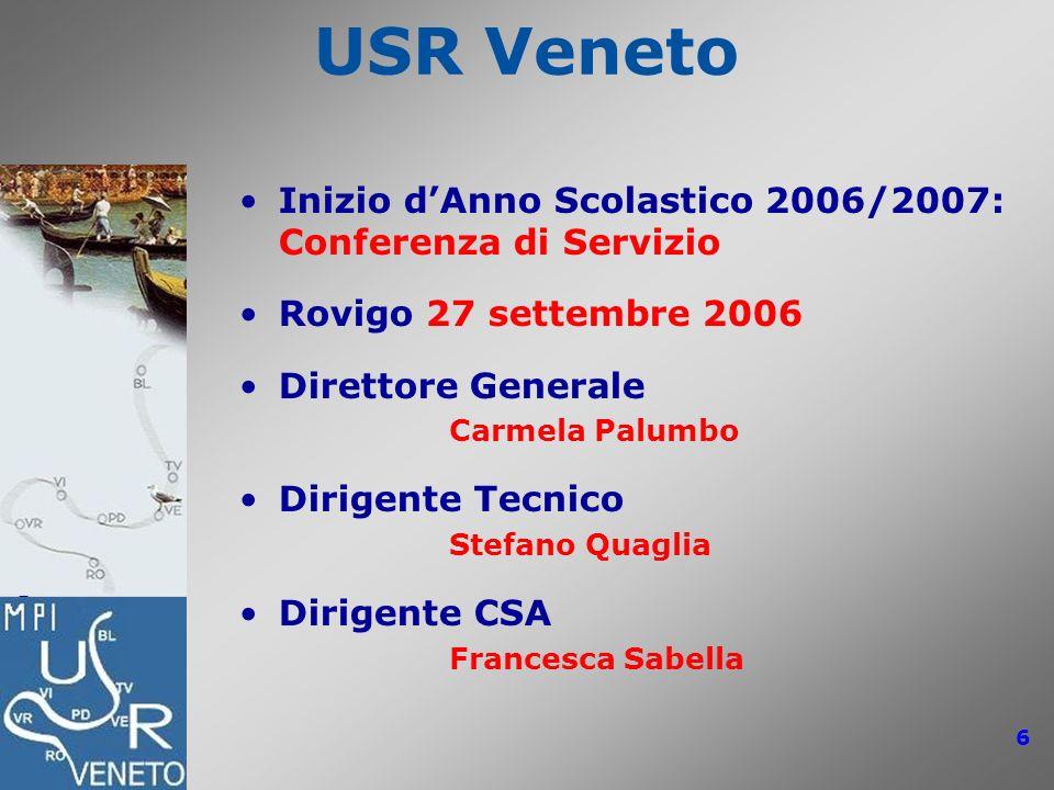 USR Veneto: Conferenze di Servizio 2006/2007 6 USR Veneto Inizio dAnno Scolastico 2006/2007: Conferenza di Servizio Rovigo 27 settembre 2006 Direttore