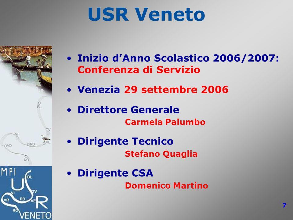 USR Veneto: Conferenze di Servizio 2006/2007 7 USR Veneto Inizio dAnno Scolastico 2006/2007: Conferenza di Servizio Venezia 29 settembre 2006 Direttor
