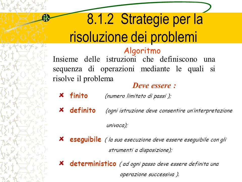 8.1.2 Strategie per la risoluzione dei problemi Algoritmo Insieme delle istruzioni che definiscono una sequenza di operazioni mediante le quali si ris