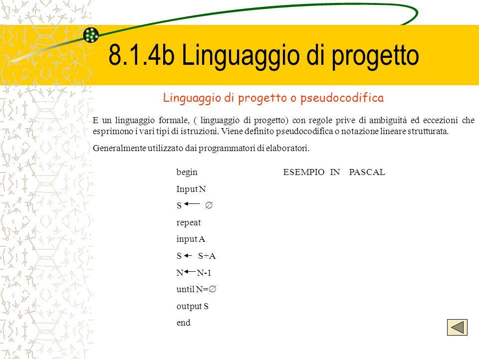 8.1.4b Linguaggio di progetto Linguaggio di progetto o pseudocodifica E un linguaggio formale, ( linguaggio di progetto) con regole prive di ambiguità