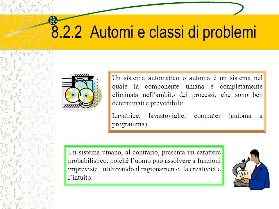 8.2.2 Automi e classi di problemi Un sistema automatico o automa è un sistema nel quale la componente umana è completamente eliminata nellambito dei p