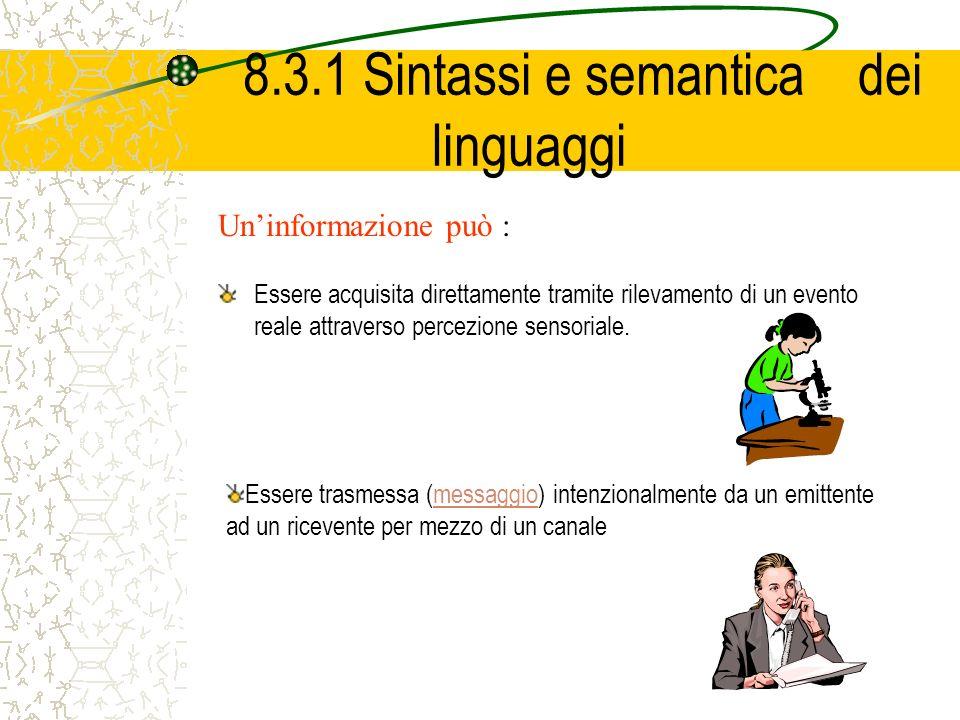 8.3.1 Sintassi e semantica dei linguaggi Essere acquisita direttamente tramite rilevamento di un evento reale attraverso percezione sensoriale. Uninfo