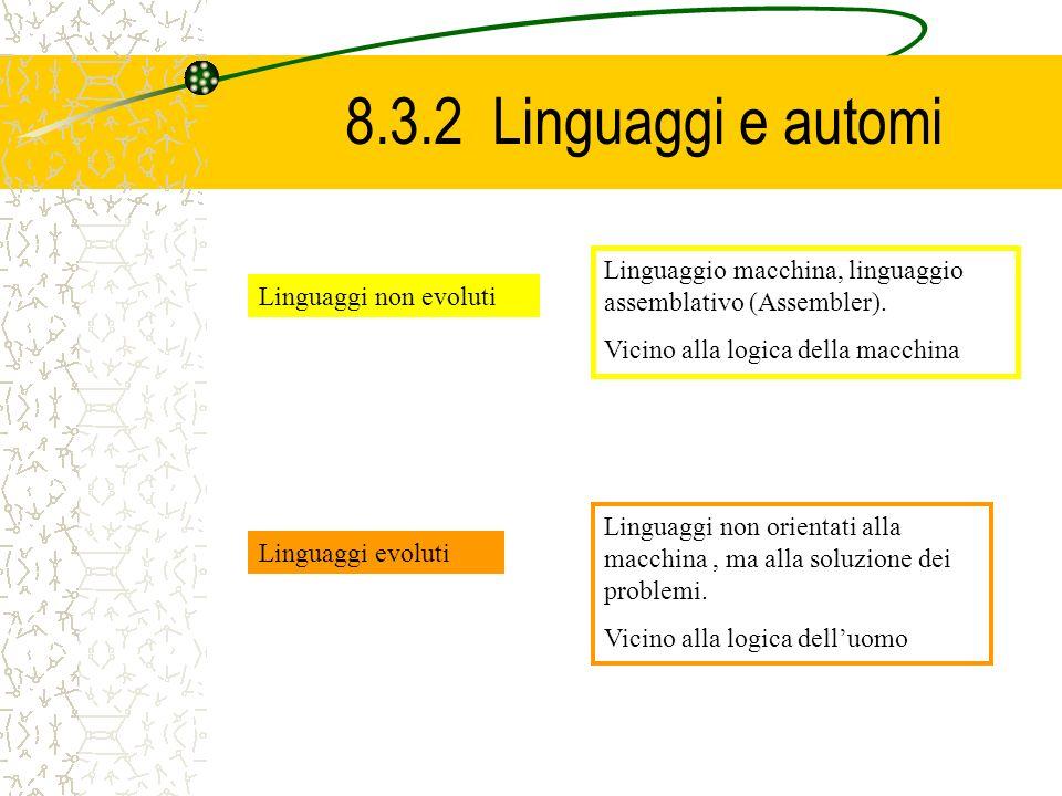 8.3.2 Linguaggi e automi Linguaggi non evoluti Linguaggio macchina, linguaggio assemblativo (Assembler). Vicino alla logica della macchina Linguaggi e
