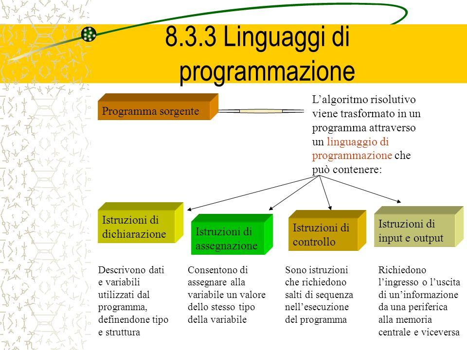 8.3.3 Linguaggi di programmazione Programma sorgente Lalgoritmo risolutivo viene trasformato in un programma attraverso un linguaggio di programmazion