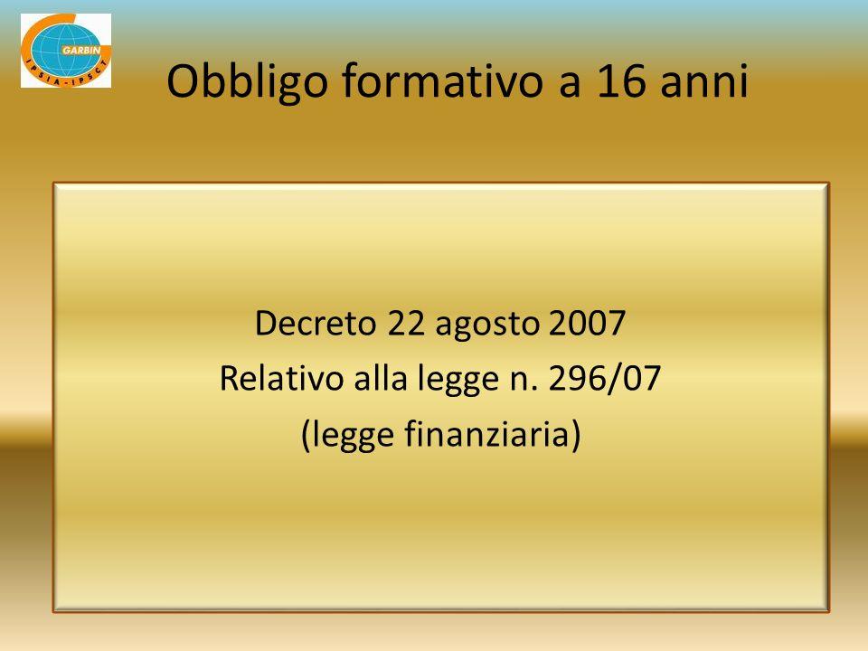 Decreto 22 agosto 2007 Relativo alla legge n. 296/07 (legge finanziaria) Obbligo formativo a 16 anni