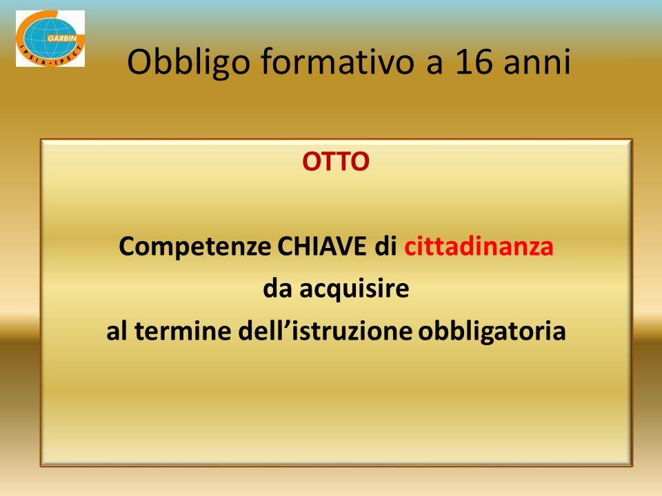 OTTO Competenze CHIAVE di cittadinanza da acquisire al termine dellistruzione obbligatoria Obbligo formativo a 16 anni