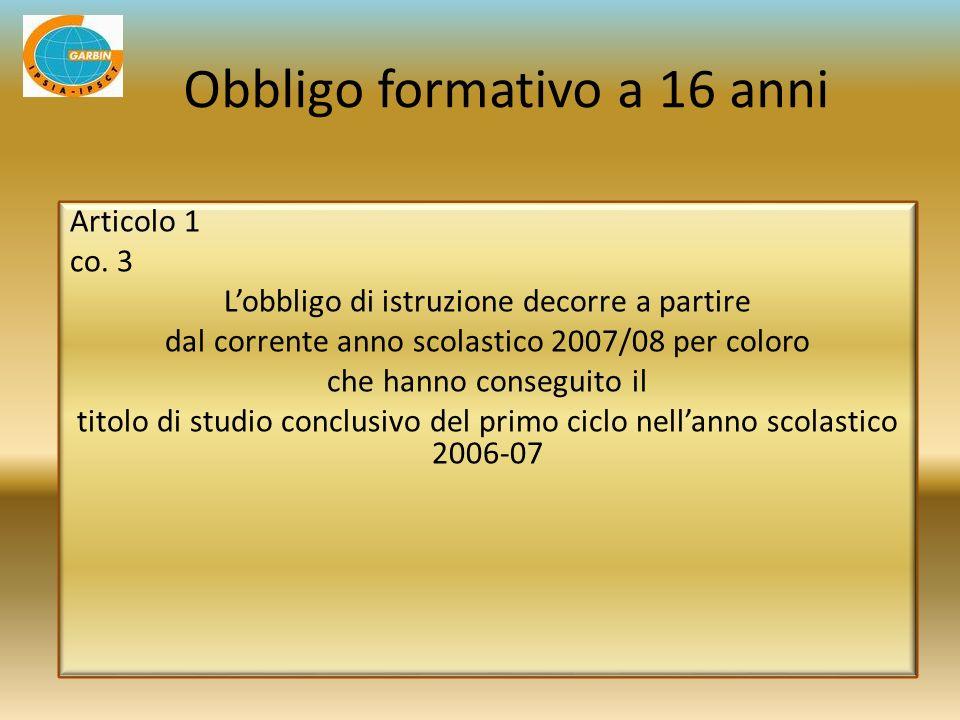 Articolo 1 co. 3 Lobbligo di istruzione decorre a partire dal corrente anno scolastico 2007/08 per coloro che hanno conseguito il titolo di studio con