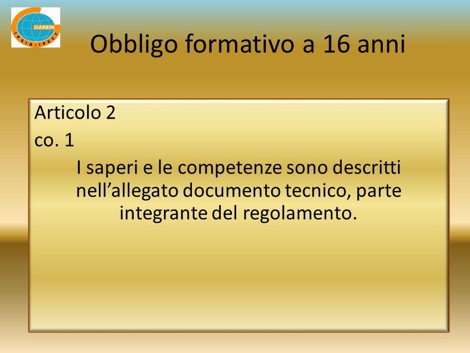 Articolo 2 co. 1 I saperi e le competenze sono descritti nellallegato documento tecnico, parte integrante del regolamento. Obbligo formativo a 16 anni