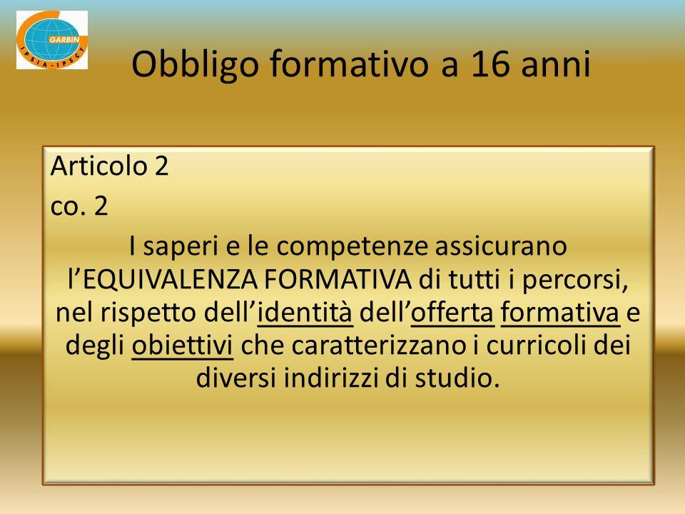 Articolo 2 co. 2 I saperi e le competenze assicurano lEQUIVALENZA FORMATIVA di tutti i percorsi, nel rispetto dellidentità dellofferta formativa e deg