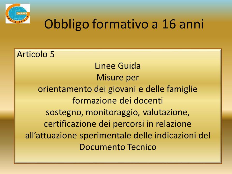Articolo 5 Linee Guida Misure per orientamento dei giovani e delle famiglie formazione dei docenti sostegno, monitoraggio, valutazione, certificazione