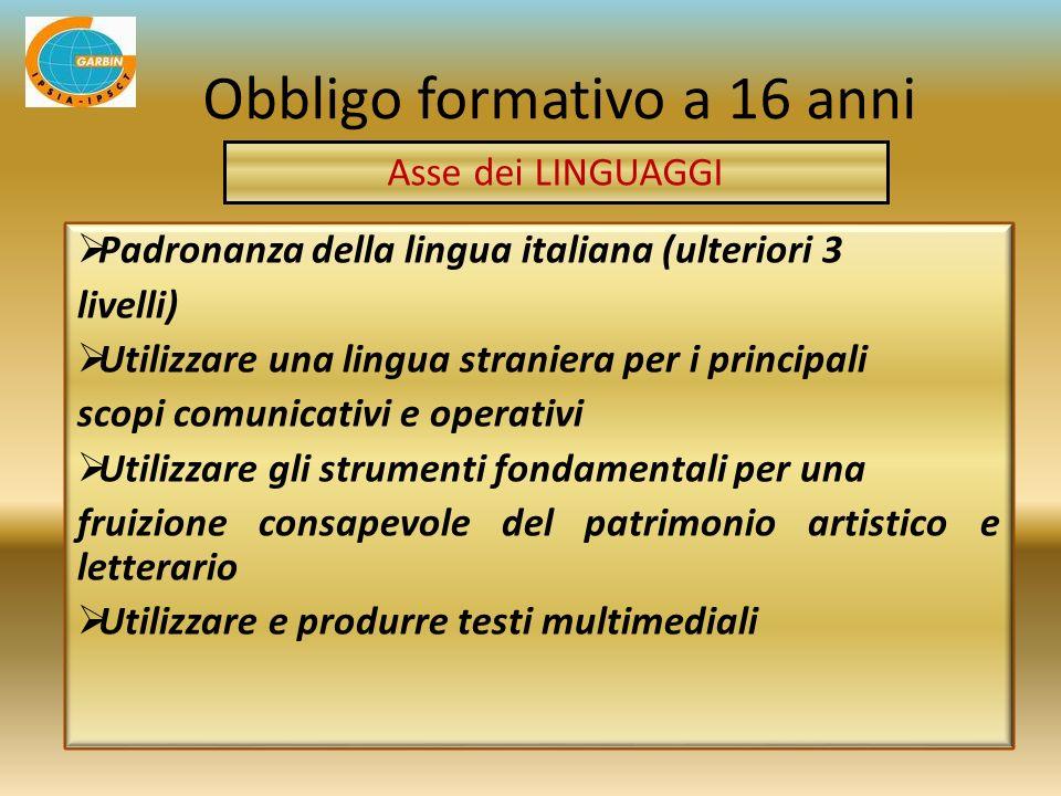 Padronanza della lingua italiana (ulteriori 3 livelli) Utilizzare una lingua straniera per i principali scopi comunicativi e operativi Utilizzare gli