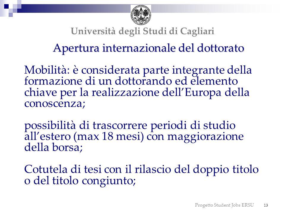 Progetto Student Jobs ERSU 13 Apertura internazionale del dottorato Apertura internazionale del dottorato Mobilità: è considerata parte integrante del