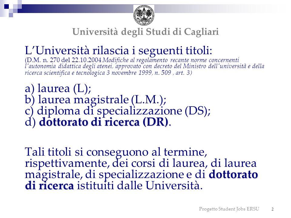 Progetto Student Jobs ERSU 2 dottorato di ricerca (DR). dottorato di ricerca LUniversità rilascia i seguenti titoli: (D.M. n. 270 del 22.10.2004 Modif