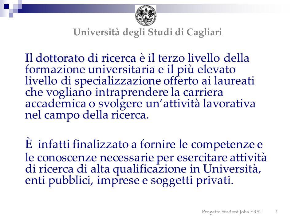 Progetto Student Jobs ERSU 14 possibilità di richiedere la certificazione aggiuntiva di Doctor Europaeus; borse di studio comunitarie ed extracomunitarie Università degli Studi di Cagliari