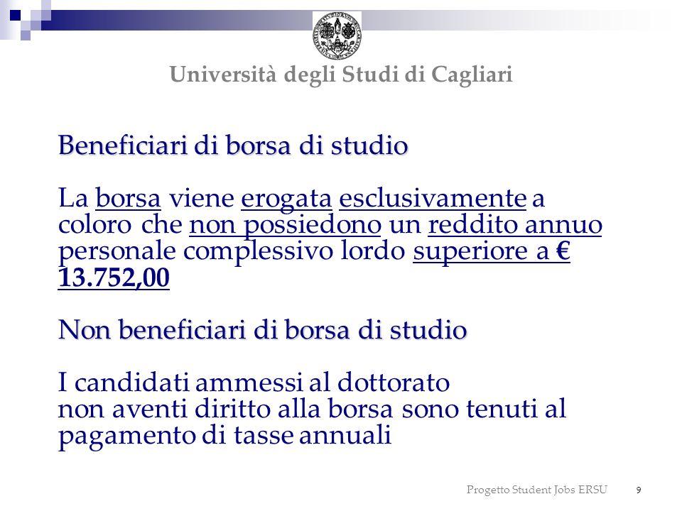 Progetto Student Jobs ERSU 10 tasse Altri contributi Importo delle tasse per liscrizione ai corsi di dottorato anno accademico 2010/2011: 266,33, da versare in due rate: 1 a rata: entro il 30 aprile 2011 2 a rata: entro il 30 settembre 2011 Altri contributi Beneficiari e non beneficiari sono inoltre tenuti al pagamento di: 5,50 per la copertura assicurativa 14,62 imposta di bollo da versare allatto dellimmatricolazione Università degli Studi di Cagliari