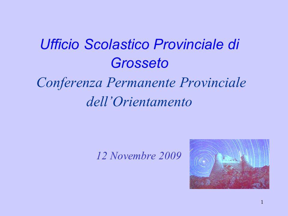 1 Ufficio Scolastico Provinciale di Grosseto Conferenza Permanente Provinciale dellOrientamento 12 Novembre 2009
