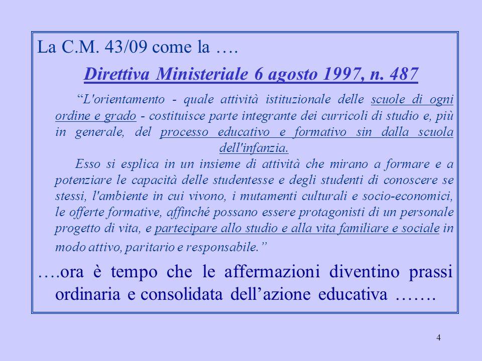 4 La C.M. 43/09 come la …. Direttiva Ministeriale 6 agosto 1997, n. 487 L'orientamento - quale attività istituzionale delle scuole di ogni ordine e gr