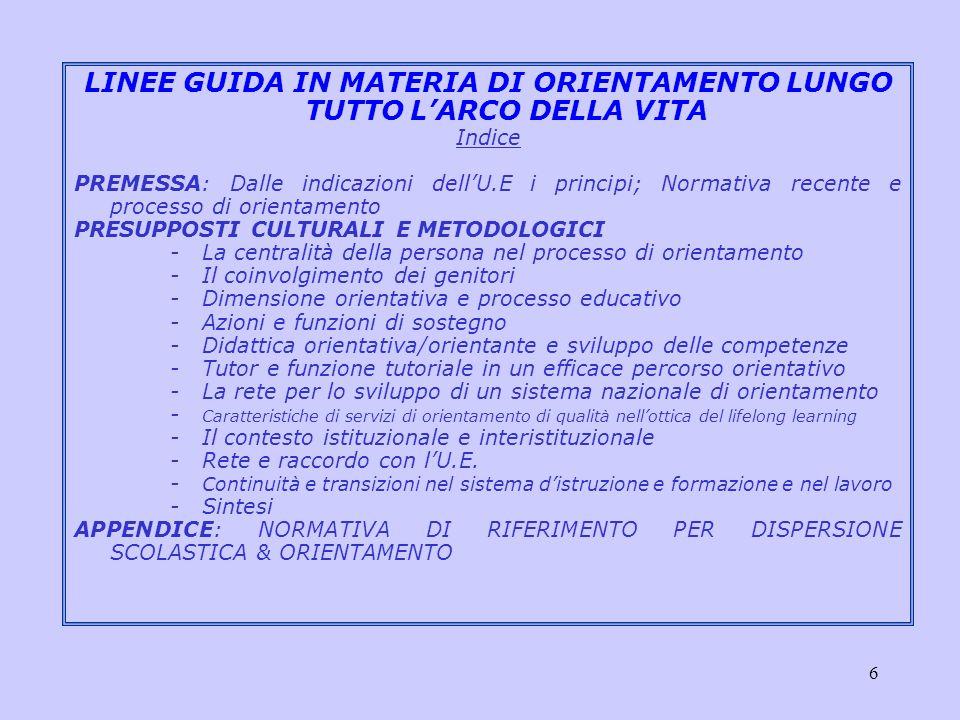 7 LINEE GUIDA IN MATERIA DI ORIENTAMENTO LUNGO TUTTO LARCO DELLA VITA Elementi più ricorrenti DIDATTICA ORIENTATIVA: funzione orientativa del processo educativo per lo sviluppo di comp.