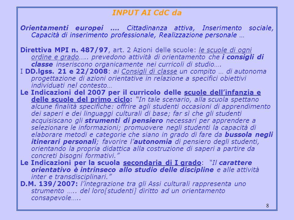 8 INPUT AI CdC da Orientamenti europei …. Cittadinanza attiva, Inserimento sociale, Capacità di inserimento professionale, Realizzazione personale … D