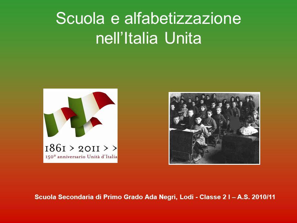Problemi dellItalia LItalia nell 800, rispetto ad altri paesi, aveva gravi problemi di analfabetismo; il 50% delle persone (forse anche di più) non sapeva né leggere né scrivere Scuola Secondaria di Primo Grado Ada Negri, Lodi - Classe 2 I – A.S.