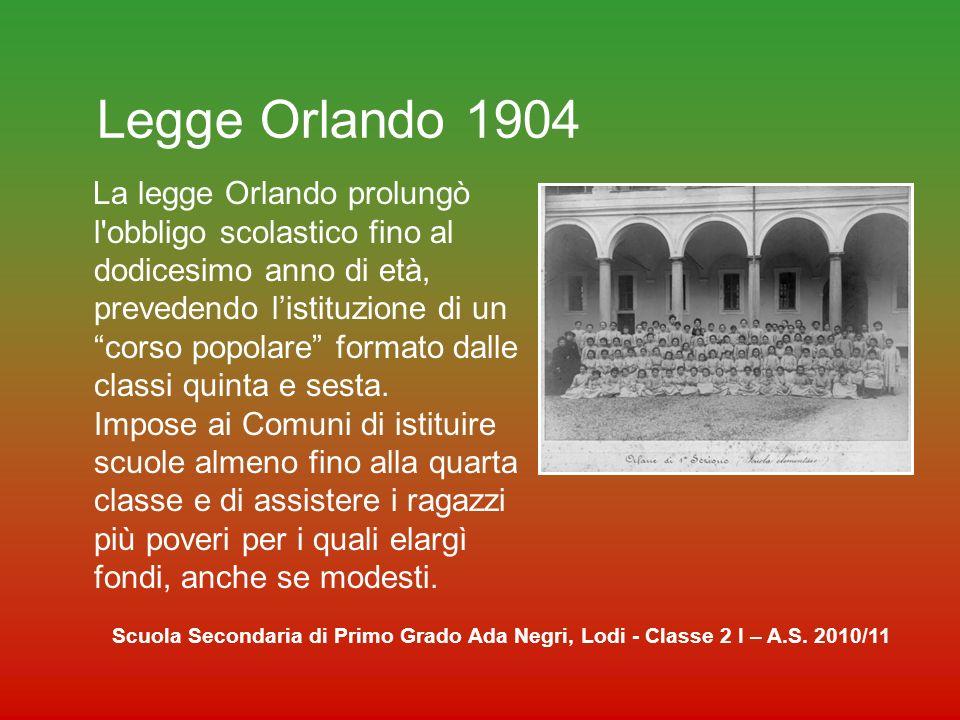 Legge Daneo Credaro 1911 Rese la scuola elementare, fino ad allora gestita dai comuni, un servizio statale, ponendo a carico dello stato il pagamento degli stipendi dei maestri elementari, consentendo una corretta organizzazione della scuola.