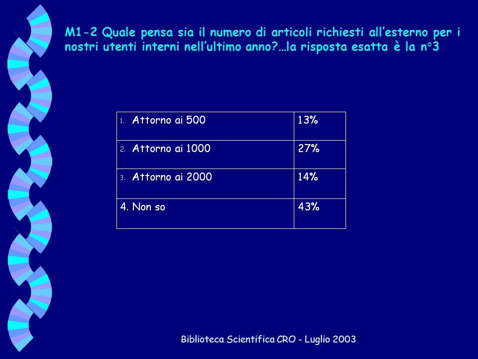 Biblioteca Scientifica CRO - Luglio 2003 M1-2 Quale pensa sia il numero di articoli richiesti allesterno per i nostri utenti interni nellultimo anno?…