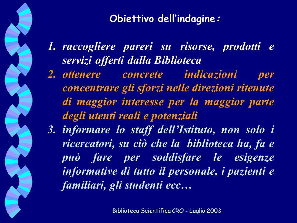 Biblioteca Scientifica CRO - Luglio 2003 1.raccogliere pareri su risorse, prodotti e servizi offerti dalla Biblioteca 2.ottenere concrete indicazioni