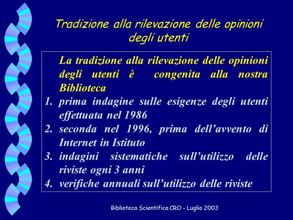 Biblioteca Scientifica CRO - Luglio 2003 La tradizione alla rilevazione delle opinioni degli utenti è congenita alla nostra Biblioteca 1.prima indagin