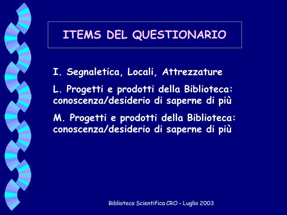 Biblioteca Scientifica CRO - Luglio 2003 ITEMS DEL QUESTIONARIO I. Segnaletica, Locali, Attrezzature L. Progetti e prodotti della Biblioteca: conoscen