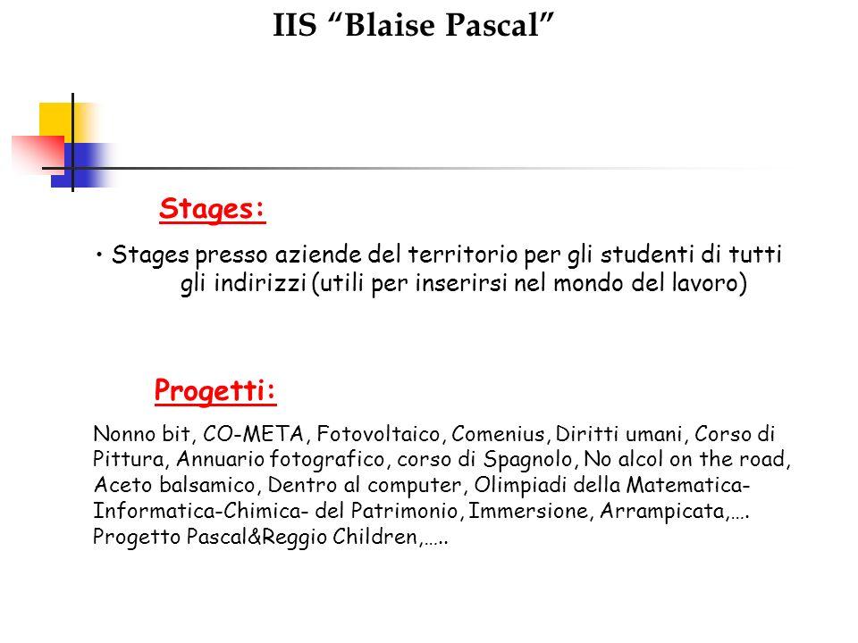 IIS Blaise Pascal Stages: Stages presso aziende del territorio per gli studenti di tutti gli indirizzi (utili per inserirsi nel mondo del lavoro) Prog