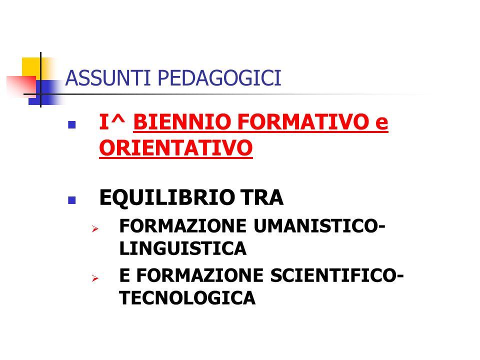 ASSUNTI PEDAGOGICI I^ BIENNIO FORMATIVO e ORIENTATIVOBIENNIO FORMATIVO e ORIENTATIVO EQUILIBRIO TRA FORMAZIONE UMANISTICO- LINGUISTICA E FORMAZIONE SCIENTIFICO- TECNOLOGICA