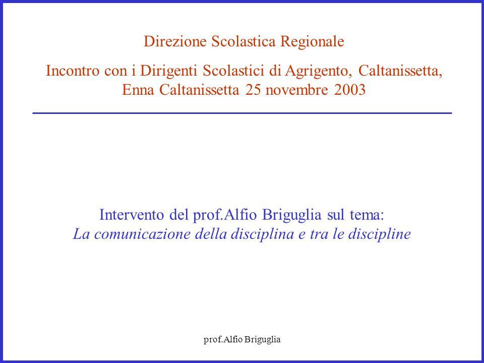 prof.Alfio Briguglia Intervento del prof.Alfio Briguglia sul tema: La comunicazione della disciplina e tra le discipline Direzione Scolastica Regional