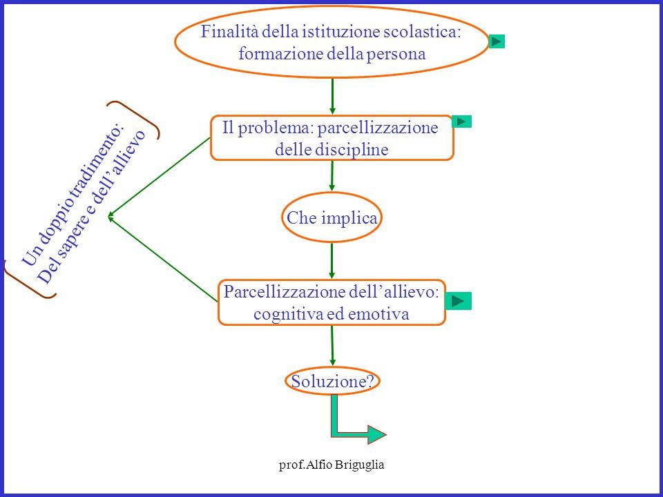 prof.Alfio Briguglia Il problema: parcellizzazione delle discipline Che implica Soluzione? Un doppio tradimento: Del sapere e dellallievo Finalità del