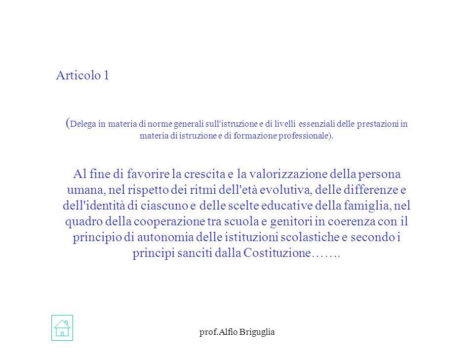 prof.Alfio Briguglia Articolo 1 ( Delega in materia di norme generali sull istruzione e di livelli essenziali delle prestazioni in materia di istruzione e di formazione professionale).