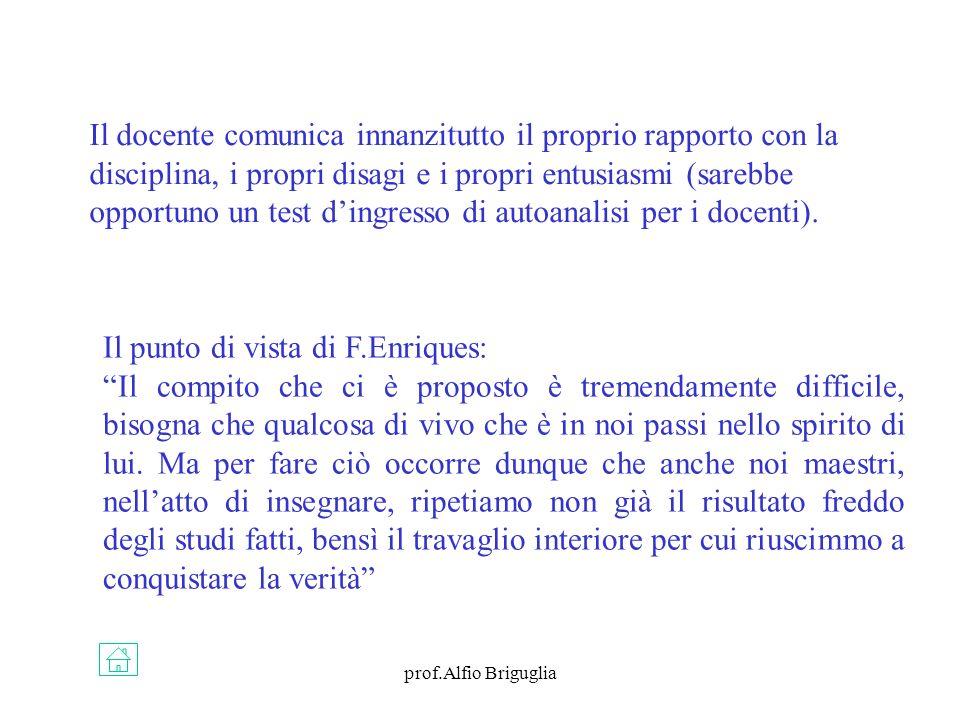 prof.Alfio Briguglia Il docente comunica innanzitutto il proprio rapporto con la disciplina, i propri disagi e i propri entusiasmi (sarebbe opportuno