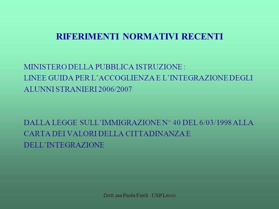 Dott.ssa Paola Fierli. USP Lecco RIFERIMENTI NORMATIVI RECENTI MINISTERO DELLA PUBBLICA ISTRUZIONE : LINEE GUIDA PER LACCOGLIENZA E LINTEGRAZIONE DEGL