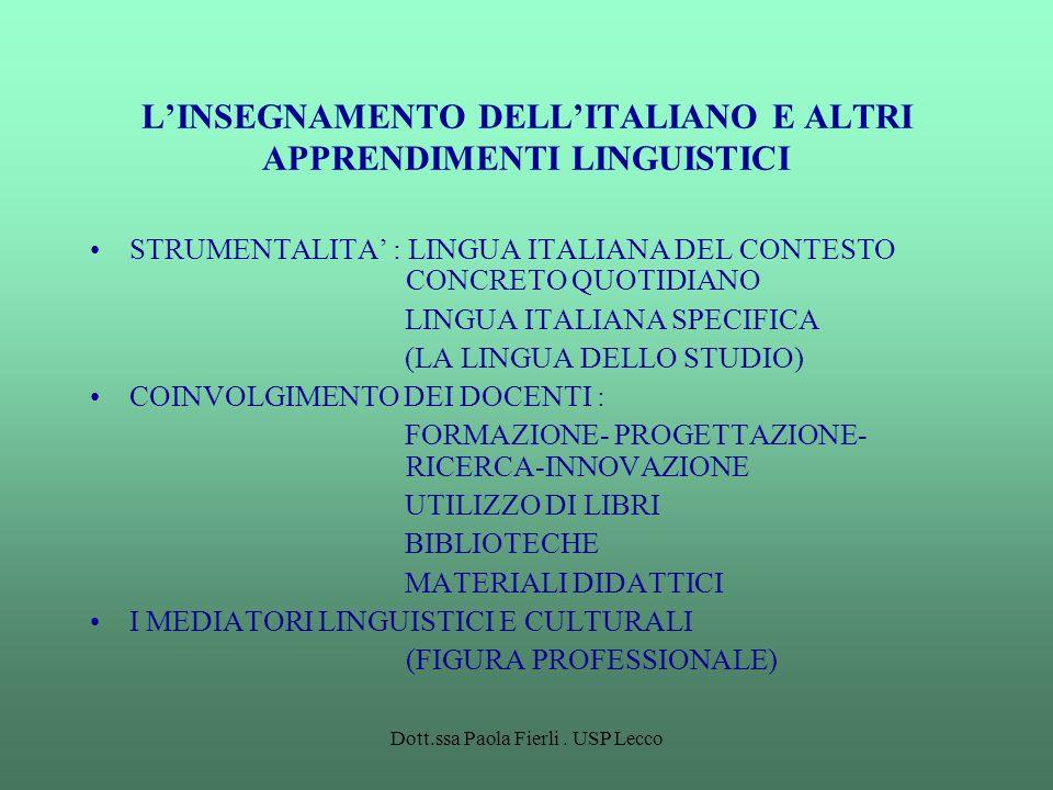 Dott.ssa Paola Fierli. USP Lecco LINSEGNAMENTO DELLITALIANO E ALTRI APPRENDIMENTI LINGUISTICI STRUMENTALITA : LINGUA ITALIANA DEL CONTESTO CONCRETO QU