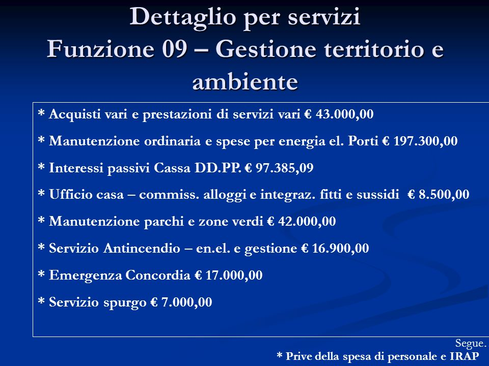 Dettaglio per servizi Funzione 09 – Gestione territorio e ambiente * Acquisti vari e prestazioni di servizi vari 43.000,00 * Manutenzione ordinaria e