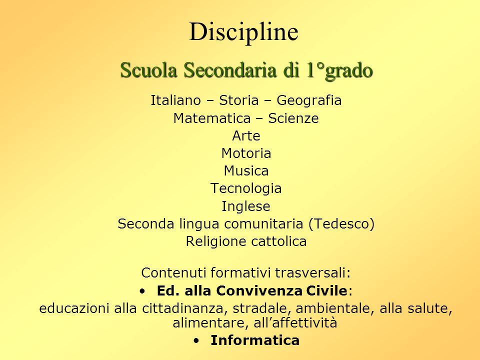 Discipline Scuola Secondaria di 1°grado Italiano – Storia – Geografia Matematica – Scienze Arte Motoria Musica Tecnologia Inglese Seconda lingua comun