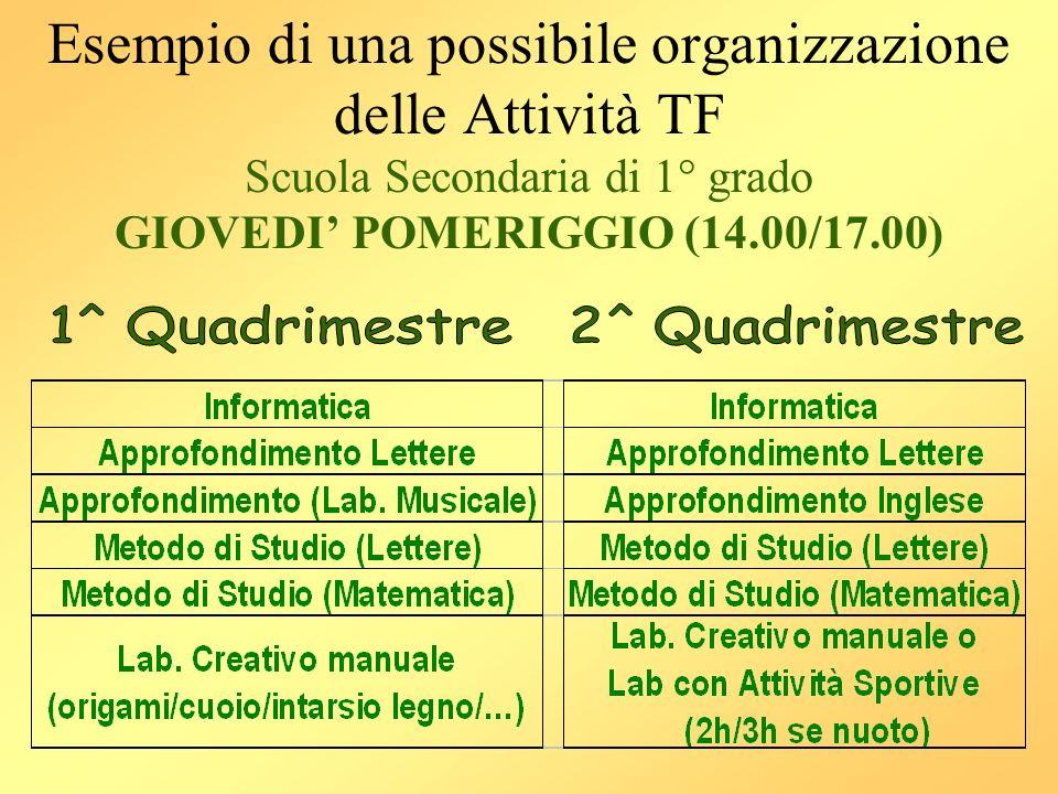 Esempio di una possibile organizzazione delle Attività TF Scuola Secondaria di 1° grado GIOVEDI POMERIGGIO (14.00/17.00)