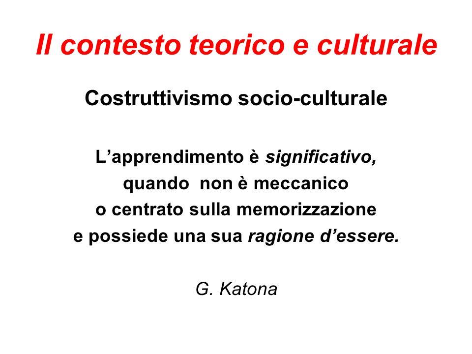 Il contesto teorico e culturale Costruttivismo socio-culturale Lapprendimento è significativo, quando non è meccanico o centrato sulla memorizzazione e possiede una sua ragione dessere.