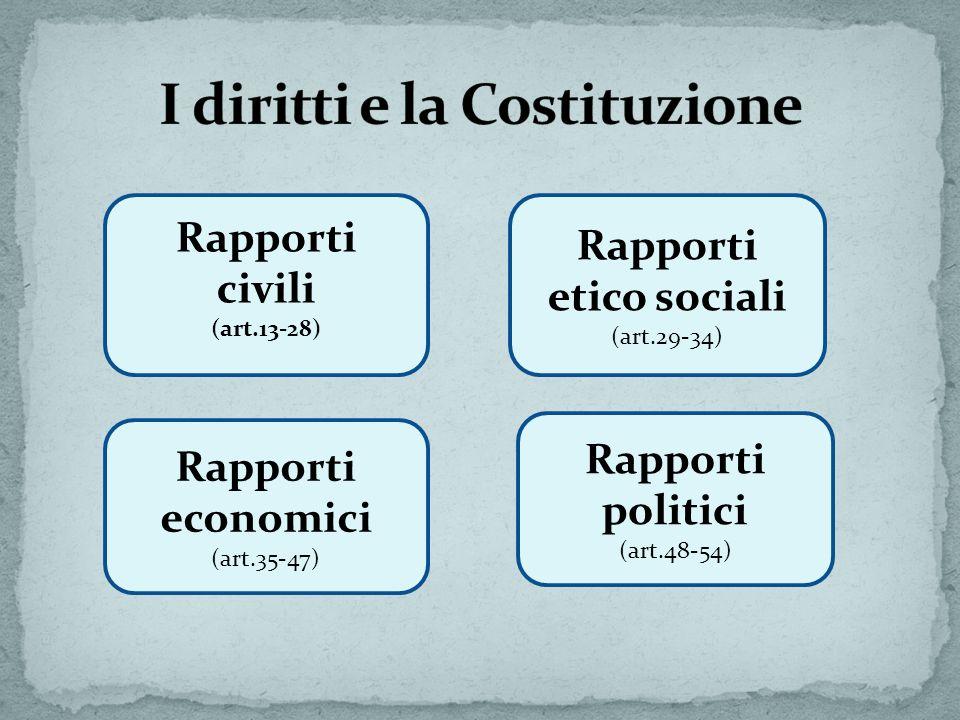 Rapporti civili (art.13-28) Rapporti etico sociali (art.29-34) Rapporti economici (art.35-47) Rapporti politici (art.48-54)