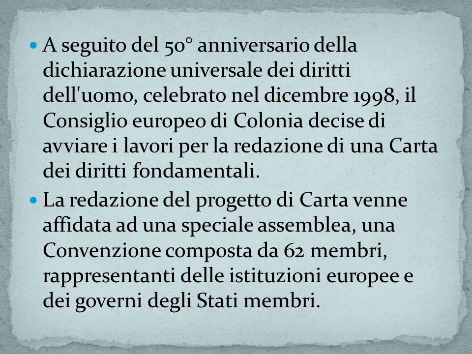 A seguito del 50° anniversario della dichiarazione universale dei diritti dell'uomo, celebrato nel dicembre 1998, il Consiglio europeo di Colonia deci