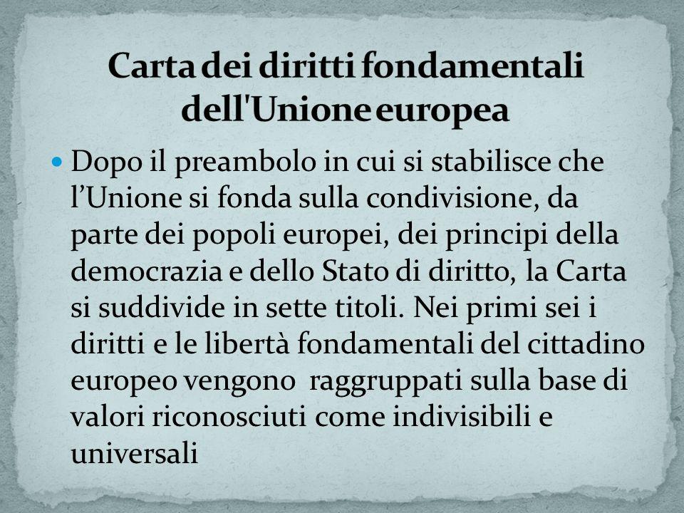 Dopo il preambolo in cui si stabilisce che lUnione si fonda sulla condivisione, da parte dei popoli europei, dei principi della democrazia e dello Sta