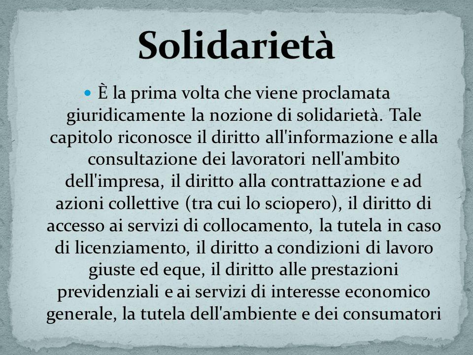 È la prima volta che viene proclamata giuridicamente la nozione di solidarietà. Tale capitolo riconosce il diritto all'informazione e alla consultazio