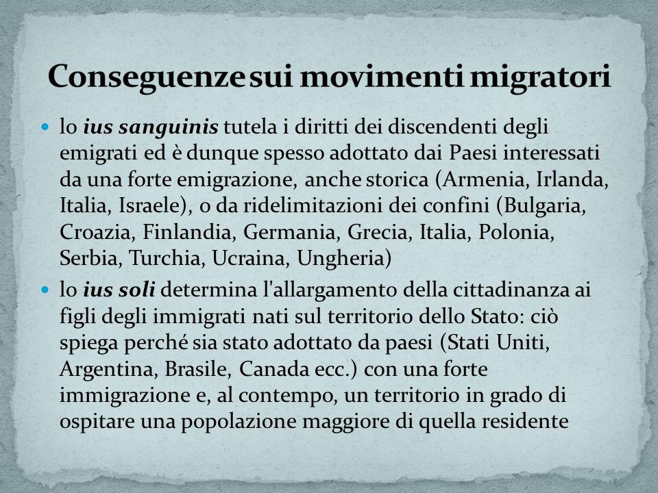 lo ius sanguinis tutela i diritti dei discendenti degli emigrati ed è dunque spesso adottato dai Paesi interessati da una forte emigrazione, anche sto